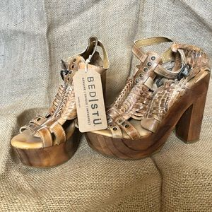 Bed Stu leather wooden platform heels